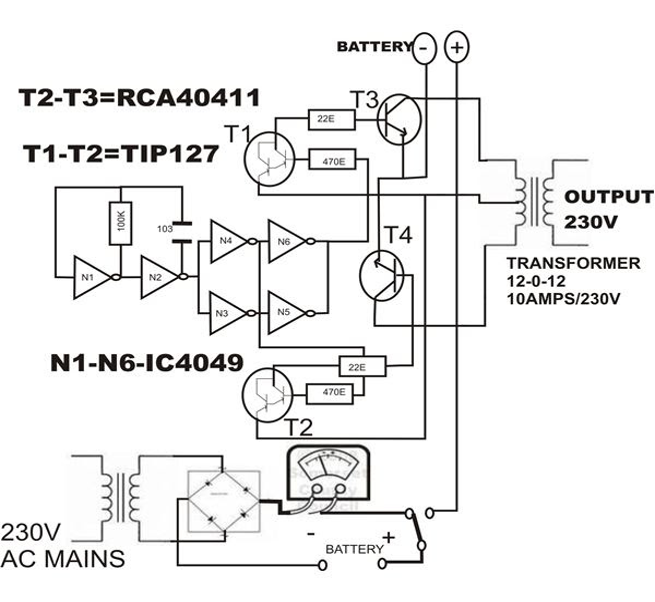 schematic diagram of power inverter