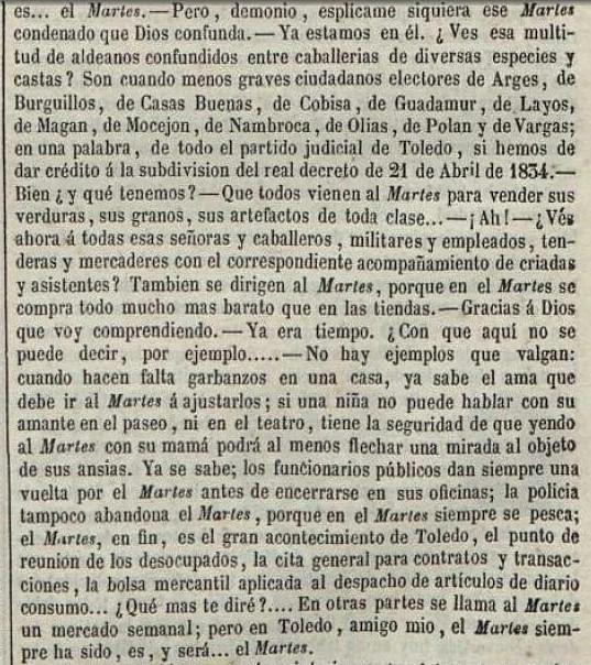 Relato sobre El Martes publicado el 4 de mayo de 1851 en el Semanario Pintoresco