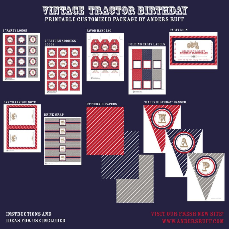 Vintage Tractor Birthday Party Printables Collection