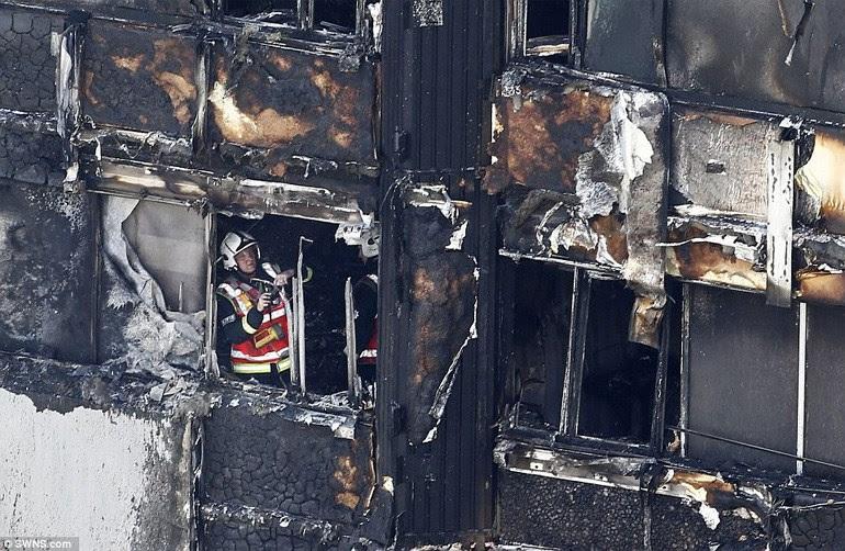 Οι πυροσβέστες εκτός του καμένου κτηρίου