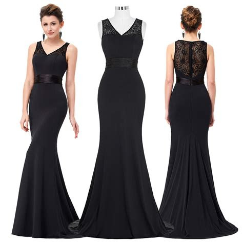 womens long black lace cocktail evening party prom formal