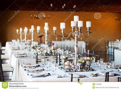 Wedding Reception Hall With Decorated Tables Stock Photo