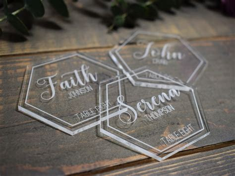 Wedding Place Cards   Clear Acrylic Hexagon ? Laser Customs