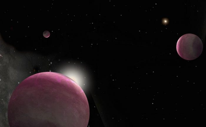 Artist's conception of the binary system with three giant planets discovered in this study. One star hosts two planets and the other hosts the third. The system represents the smallest-separation binary in which both stars host planets that has ever been observed. Image courtesy of Robin Dienel/Carnegie.
