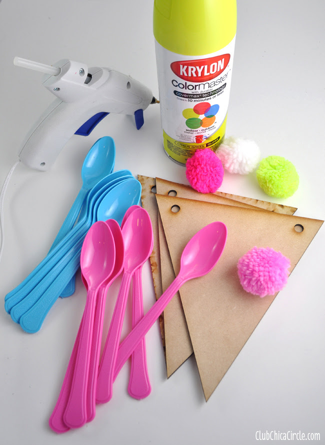 Spring Flower Plastic Spoon Garland supplies copy