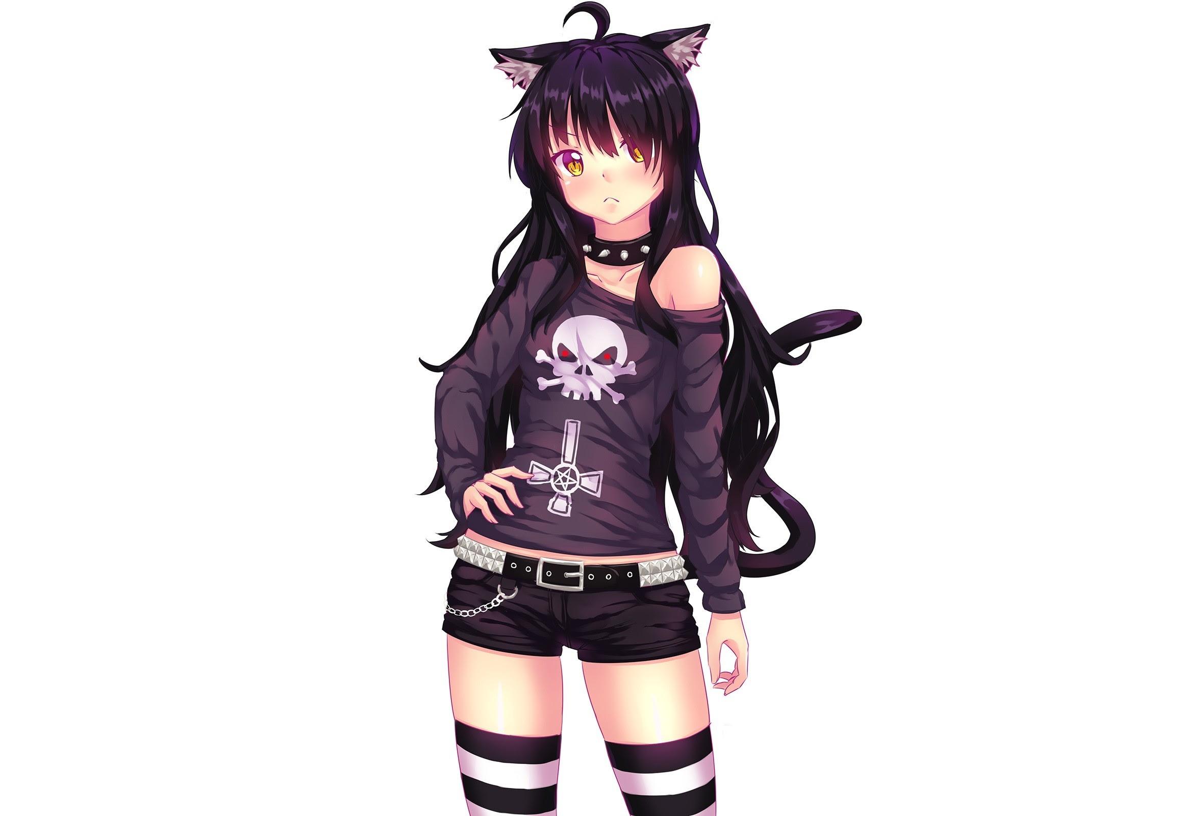 Black Cute Anime Cat Girl Wallpaper Gambarku