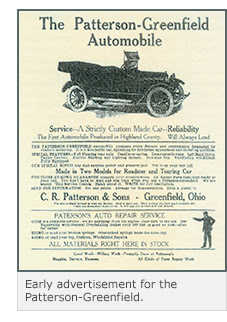 Early advertisement for the Patterson-Greenfield automobile.