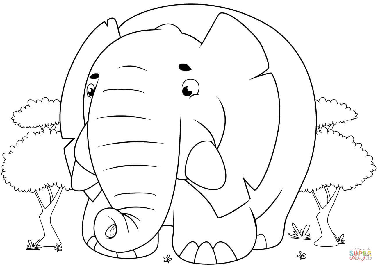 Coloring Pictures For Kids Elephant   Drawing with Crayons