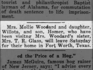 Mollie McBurnett Woodard and sister, Carrie McBurnett Glass