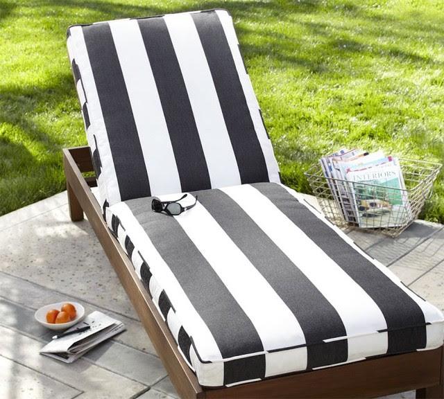 Chaise Cushion, Black & White Stripe Sunbrella - modern - outdoor ...