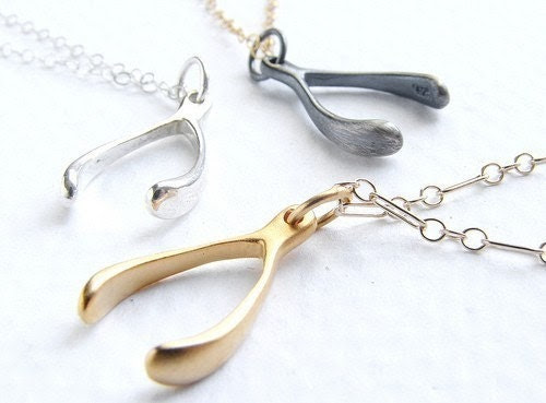 Small Wishbone necklace sterling silver - tiny silver wishbone necklace - delicate dainty everyday necklace