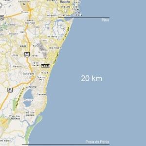 Mapa mostra faixa de 20 km no litoral do Recife (PE) onde ocorrem os ataques de tubarões
