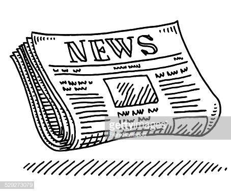 newspaper journalism drawing vector art getty images
