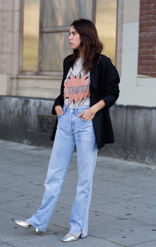 Le Fashion Blog Oversized Blazer Graphic Tee Vintage Jeans Silver Heels Via Always Judging