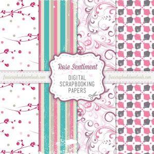 Rose Sentiment Romantic Scrapbook Papers