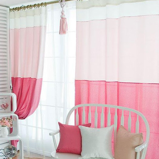 Sweet Pink Cotton and Fiber Bedroom Curtains for Girls (Two Panels ...