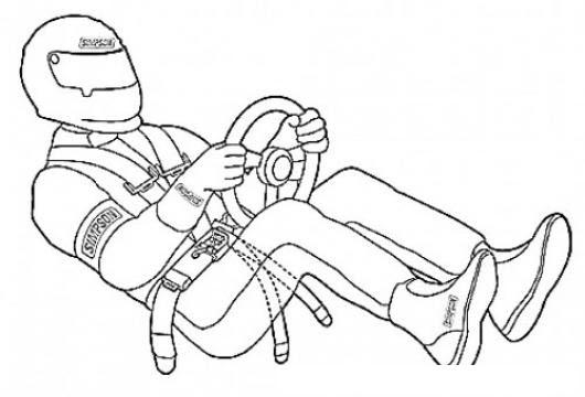 Dibujo De Un Piloto De Auto De Carreras Con Timon Para Pintar Y