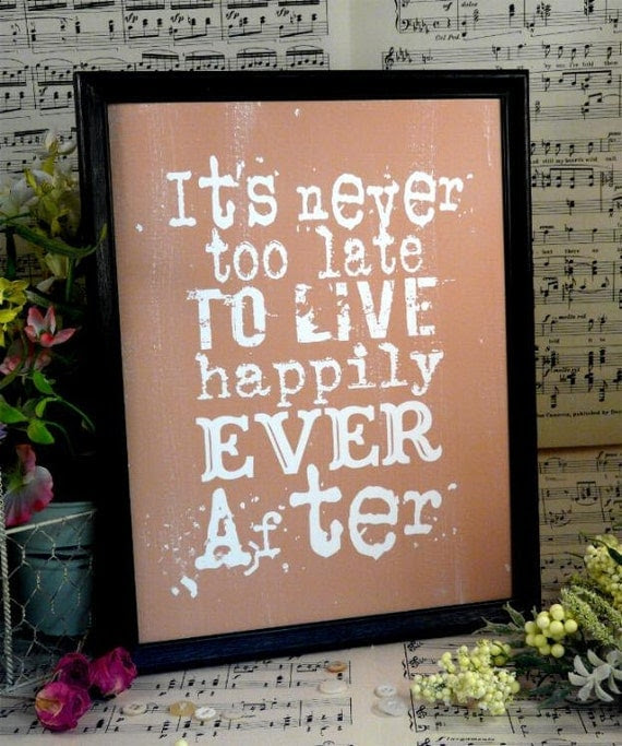 Happily ever after sign digital - beige inspiration NEW art words vintage style primitive paper old pdf 8 x 10 frame saying