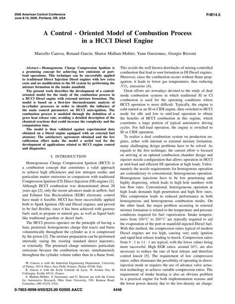 (PDF) A control-oriented model of combustion process in a