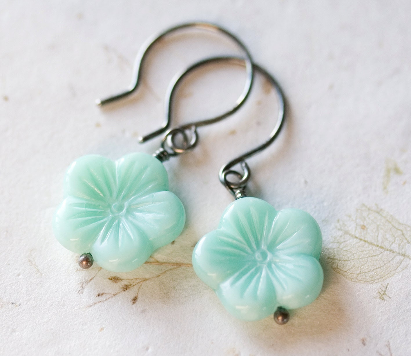 Mint Flower Earrings Sterling Silver Oxidized Czech Glass Spring Blossom Aqua Spearmint - FirebirdJewellery