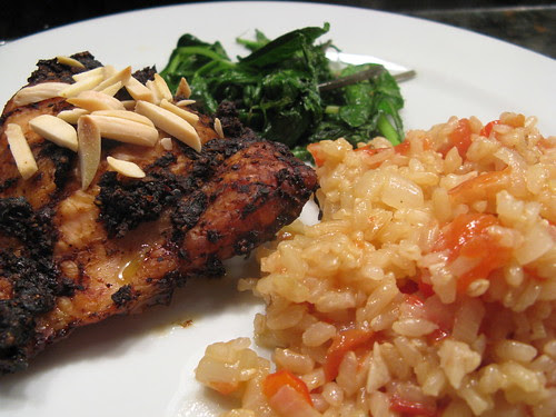 Adobo chicken with spanish rice