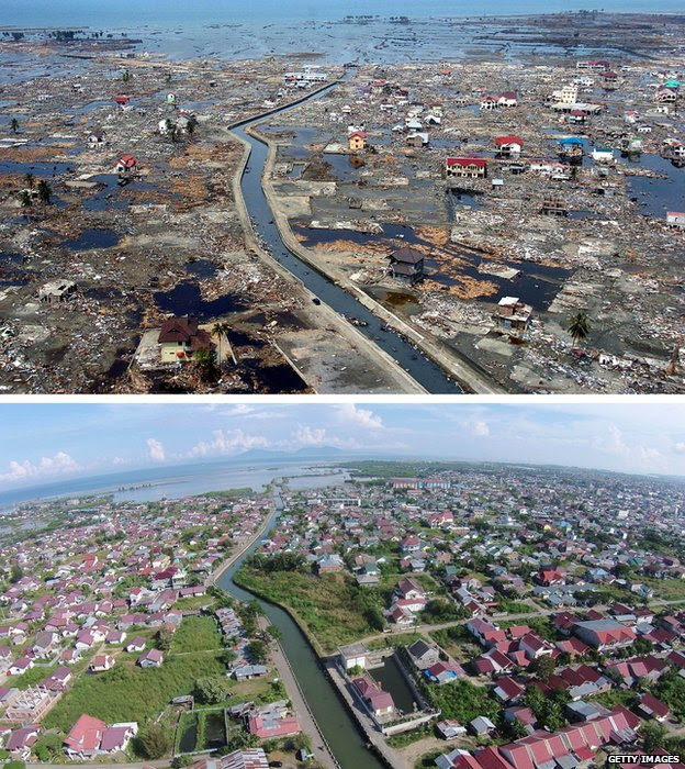 An aerial view of Banda Aceh, Indonesia, after the 2004 tsunami (top) and today