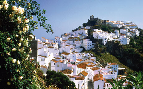 Look at the mountain village Casares, Malaga, Spain