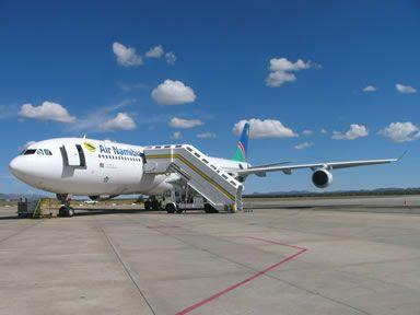 Boarding via stairs at Hosea Kutako Airport, Windhoek