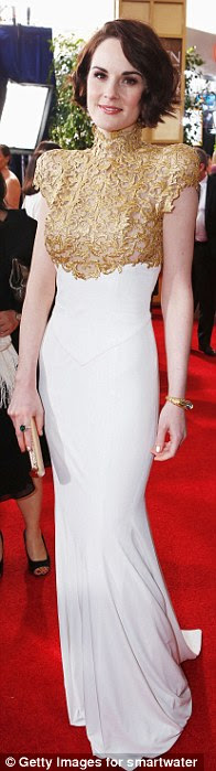 Michelle Dockery's two-tone gown by Alexandre Vauthier and her short hairstyle are disappointing
