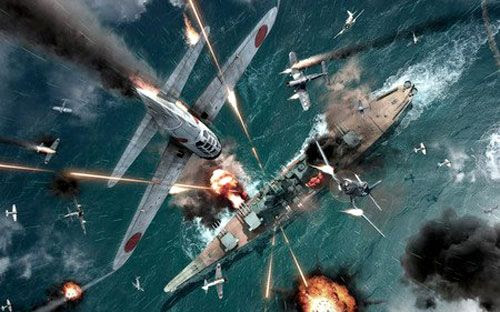 A World War II illustration depicting Japanese and American combat aircraft engaged in fierce dogfights above a USS Iowa-class battleship.