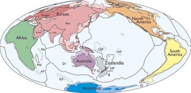 Mapa com a Zelândia