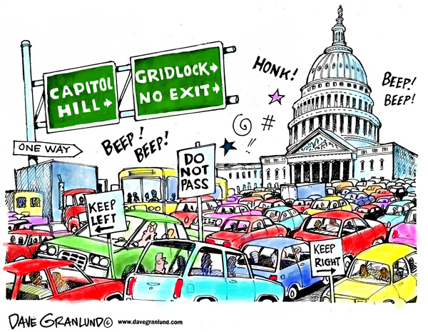 Cartoon of the U.S. Capitol, with cars gridlocked in front of it.