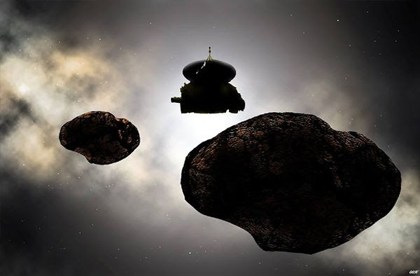 An artist's concept of NASA's New Horizons spacecraft flying past the binary objects that may comprise 2014 MU69...on January 1, 2019.