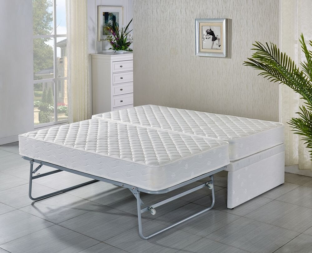 SINGLE bed Base with Trundle bed with 2 mattresses\/ 5 years warranty  eBay
