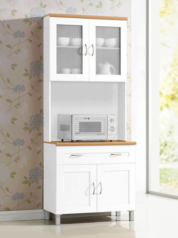 White Tall Microwave Cabinet Stand Hutch Pantry Cart ...