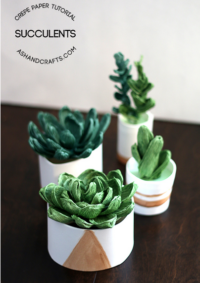 Crepe Paper Succulents Ash and Crafts  5-26