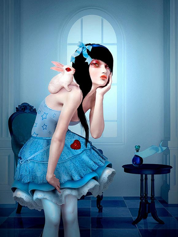 Natalie Shau, painting, dream, Alice, White Rabbit, wonderland