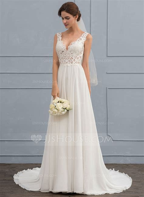 A Line/Princess V neck Court Train Chiffon Wedding Dress