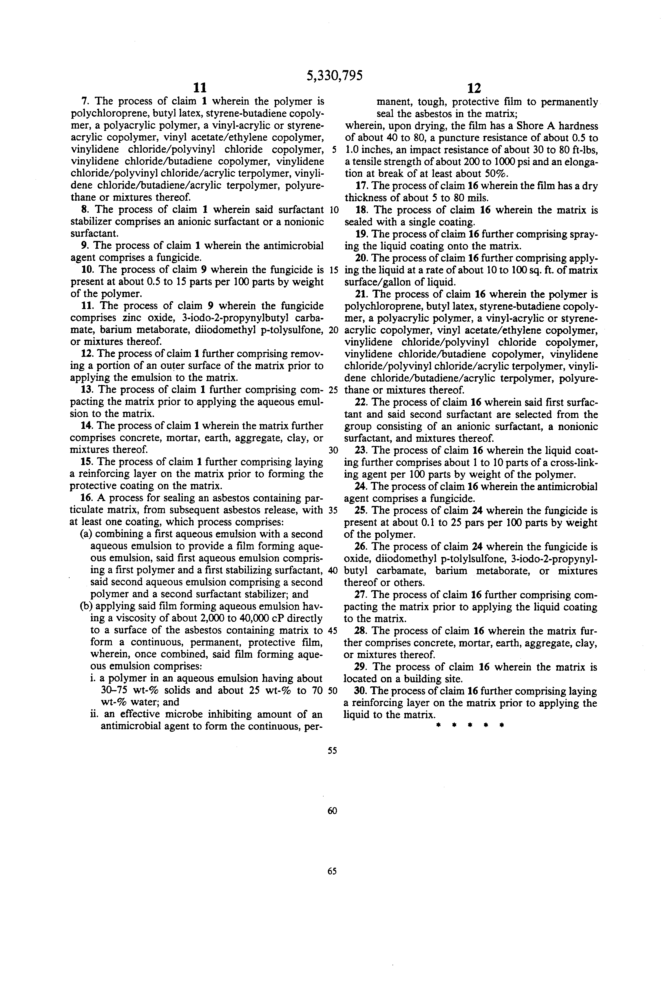 Patent US5330795  Emulsion based coatings and a method using an emulsion based coating to seal
