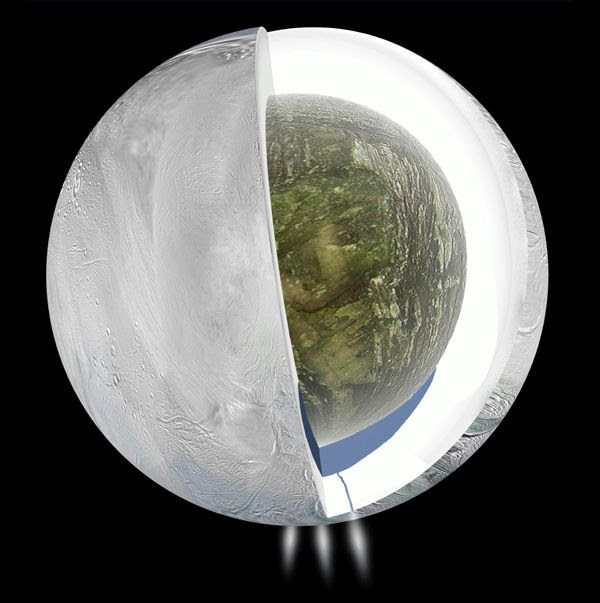 Using data provided by NASA's Cassini spacecraft and the Deep Space Network, this illustration depicts the possible interior of Saturn's moon Enceladus.