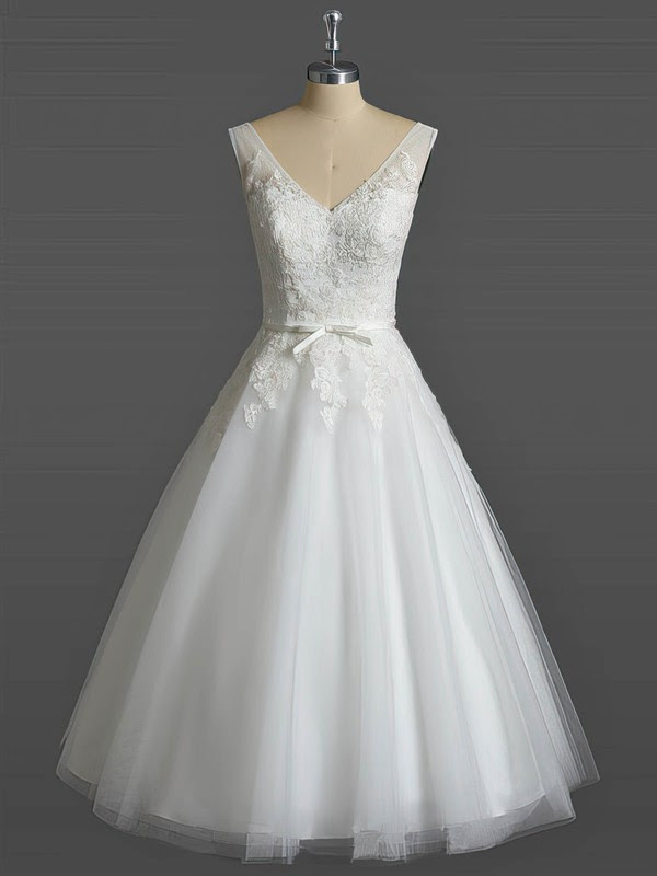 Tulle V-neck Ball Gown Tea-length with Sashes / Ribbons Wedding Dresses #UKM00023031
