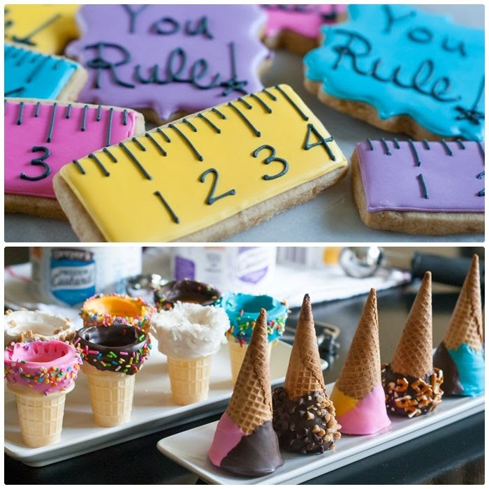 decorated cookies and dipped ice cream cones!