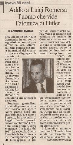 """Il necrologio apparso sul """"Tempo"""""""