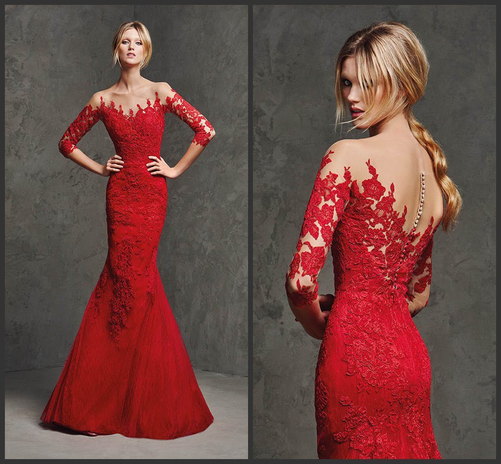 Red lace evening dress
