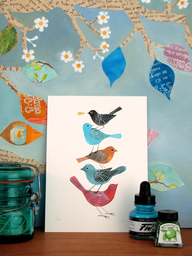 Stack of Birds print