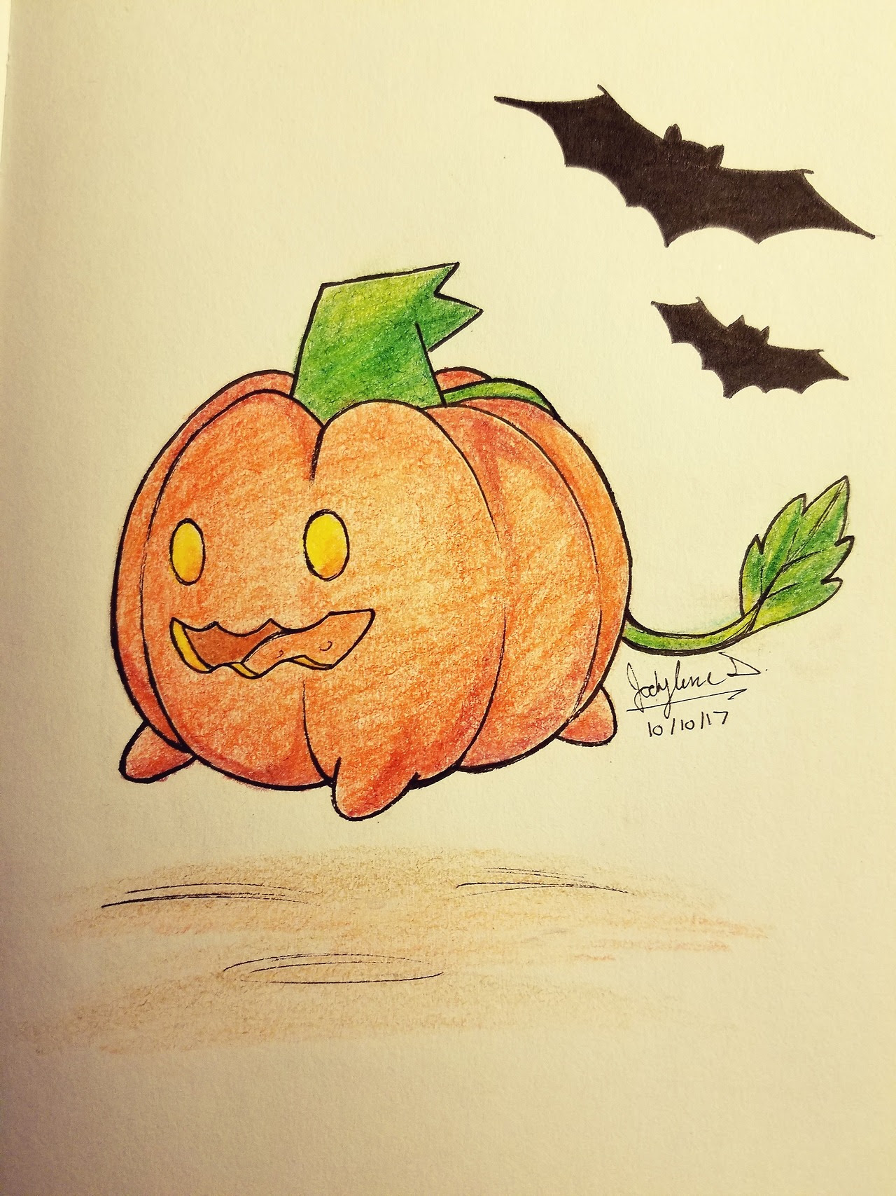 #8. // #9. Bats + Pumpkin    Have this cute little pumpkin. Combined the two prompts to save time…now I'm finally caught up~! :')
