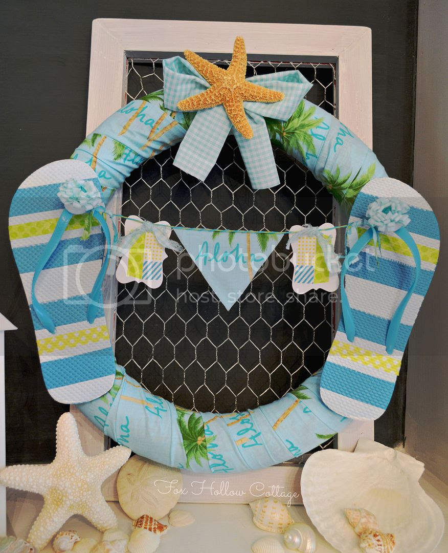 Aloha Summer Pool Noodle Wreath Craft DIY Summer Door Decor