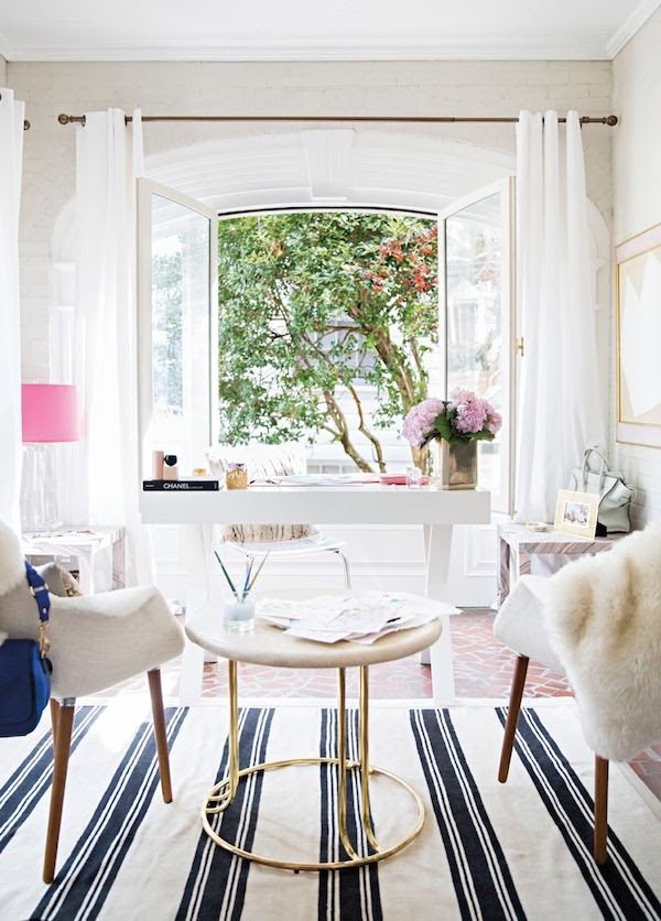 4 Le Fashion Blog -- A Fashionable Home: Laura Naples and Kristen Giorgi of NG Collective -- Domino Magazine By Brittany Ambridge -- Art, Chic Office, White Desk Beutiful Windo, Fur Throw, Striped Rug -- photo 4-Le-Fashion-Blog-Fashionable-Home-Laura-Naples-Kristen-Giorgi-NG-Collective-For-Domino-By-Brittany-Ambridge-Art-Chic-Office-White-Desk.jpg