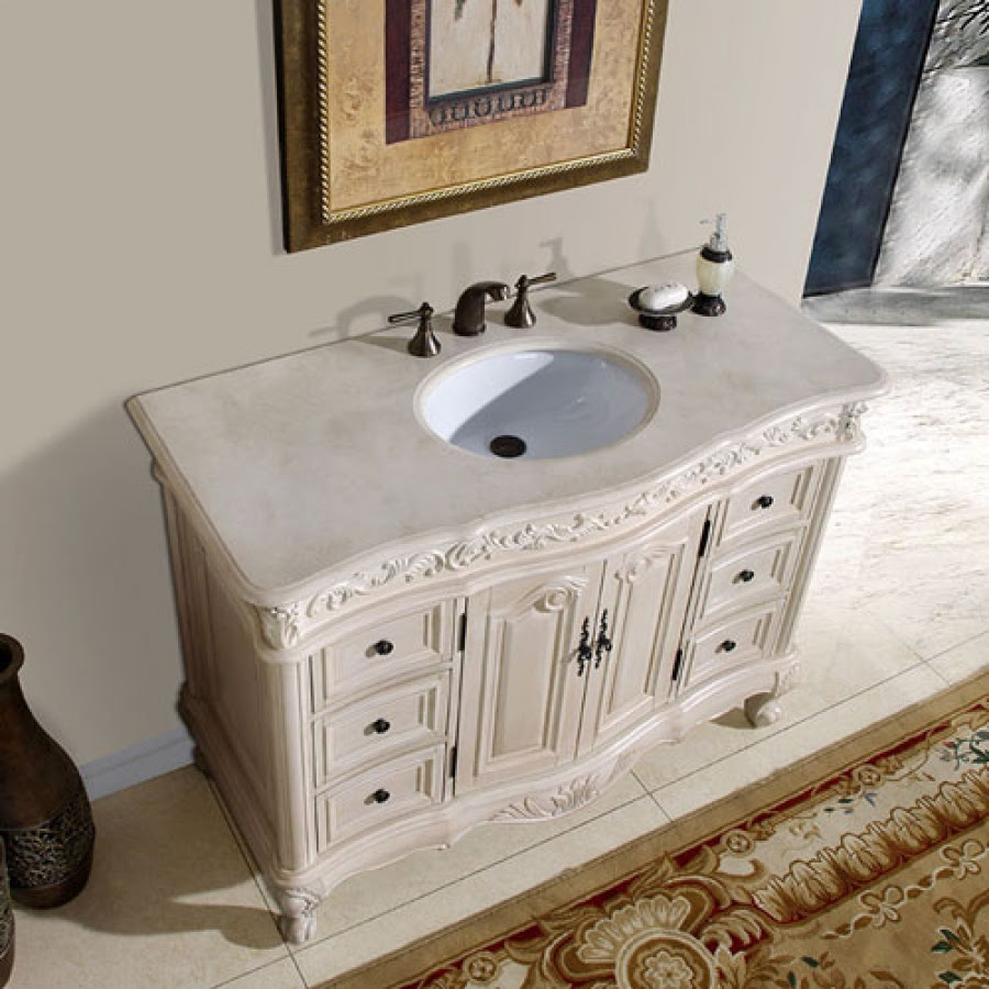 48 Inch Single Sink Vanity with Cream Marfil Counter Top ...