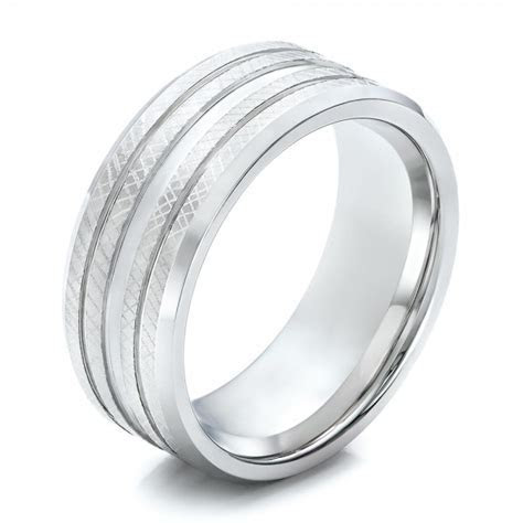 Men's Black and White Tungsten Band #101209   Seattle